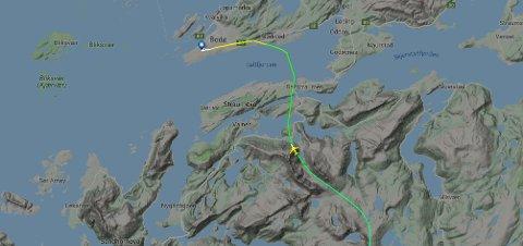 SAS flight SK4116 til Bodø landet 17.05 den 19.september. Ei uvanlig innflyvning gjennom Åselidalen, der flyet ved utgangen av fjellmassivet lå på 1.100 meter.
