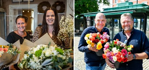 KLAGER: Denise Sandli (t.v.) og Solveig Røine har levert inn en klage etter de ikke ble tildelt blomsterboden på torget. Sandli driver Blåveispiken Blomster, Røine driver tre ulike kafeer og restauranter på Strømsø.