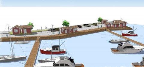 Sjøboder: Krosnes Brygge AS planlegger åtte sjøboder på bryggekanten.