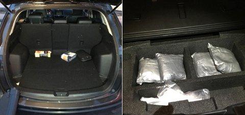BESLAG: Det i denne leiebilen at politiet i Trøndelag fant de 3,9 kilo amfetamin skjult i bagasjerommet, der hvor reservehjulet opprinnelig skulle ha vært.