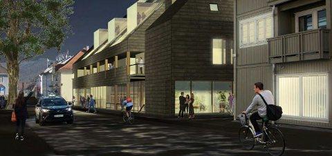 GATEBILDE: Slik ser arkitekten for seg nybygget sett fra Myntgata. Et solid flertall av politikerne var begeistret for planen til Per Ole Bryn og Bryggerigården AS.