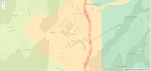 SVEVESTØV: Kartet viser årsmiddelkonsentrasjonen for grovpartiklet svevstøv PM10 i Moss.