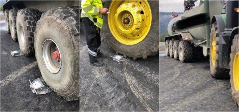 STANSET: Traktoren hadde en tank med vann på hengeren. Til sammen var det over 35 tonn overlast på doningen som ble stanset av Statens vegvesen onsdag. Foto: Statens vegvesen