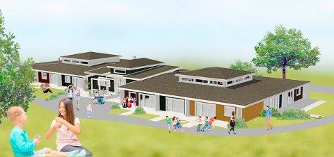 FAMILIESENTERET: Slik tenker skole- og kompetansesenteret seg det nye familietilbudet på Sukke i Andebu. (Illustrasjon: A-tre konsult AS/Signo) )