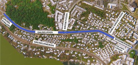 Kart som viser bussvei-strekningen Diagonalen til Gausel stasjon.