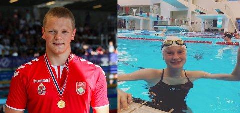 TØNSBERGS HÅP: Fredrik Solberg (19) t.v og Amanda Dahl Kjendlie (16) representerer Tønsberg i Bergen i helgen.