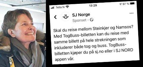 TILBUD OM TOG TIL NAMSOS: I en reklamekampanje ble det reklamert med billett mellom Steinkjer og Namsos som inkluderte både tog og buss. Kommunikasjonssjef Hilde Lyng legger seg flat.
