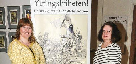 Klar tale: Avdelingsdirektør i Museene i Akershus, Kjersti Lillebø (t.v.), og kurator Vigdis Wolden i Avistegnernes Hus. Foto: Staale Reier Guttormsen