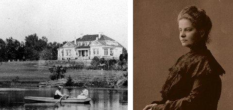 DRENGSRUD: Hovedbygningen ved vannet fotografert ved Petra Fougners tid. De roende unge kvinnene er trolig hennes døtre. Fougner kjøpte og pusset opp Drengsrud gård. Mannen døde under inspeksjon ved innflytting, da hun var 43 år.