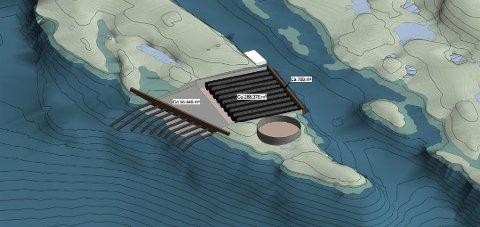 Stort anlegg: Gigante Slamon ønsker å bygge landbasert oppdrett på et 20 dekar stort område på Feøya i Fleinvær.