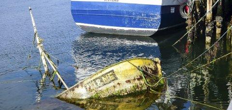 Nedsunket : Fiskebåten ligger godt synlig ved lavvann ved Sjystjerna-kaia å Ørnes.