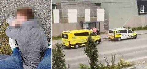 LAGT I BAKKEN: Sigve Jakobsen måtte legge mannen i bakken. Både politi og ambulanse rykket ut etter melding om voldshendelsen, og var raskt på stedet.