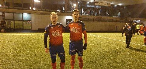 TO HVER: Mathias Perttamo og Elion Shatri scoret to mål hver for Eiger mot Brodd fredag.
