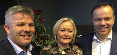 De tre på topp: Fylkesvaraordførerkandidat Bjørnar Skjæran, fylkesordførerkandidat Mona Nilsen, og fylkesrådslederkandidat Tomas Norvoll.