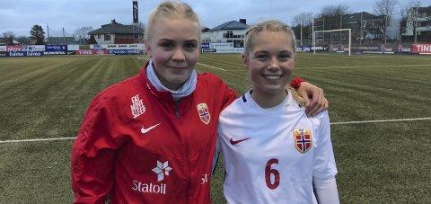 EM-kvalik: Narvikjentene Hanne Larsen og Lotte Fikseth Fossem var med i Norges tropp som knuste Sveits søndag ettermiddag.