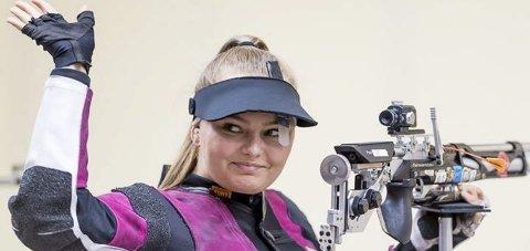 GOD VM-INNSATS: Jenny Stene klarte ikke å nå finalen i VM med luftgeværet, men gjorde likevel en veldig bra innsats.