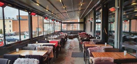 KLART: Manis Mat & Bar har nå helårs uteservering klar.