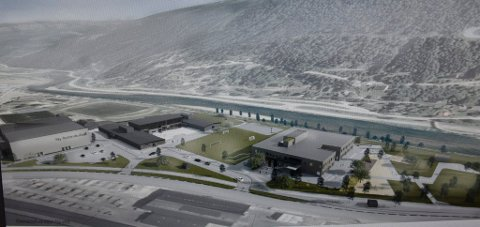 Oversiktsillustrasjon sett fra vest. Helt til venstre på bildet er den nye flebrukshallen, i midten dagens ungdomsskole, og til høyre den planlagte  barneskolen.