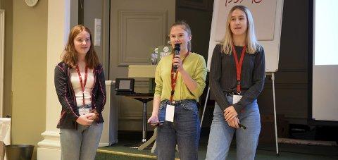 Innlegg: Emilie Viveli Tveit, Oda Medhus, begge frå Eidfjord og Bjørk Thorbjørnsen frå Ulvik sit alle i Hardanger ungdomsråd. Foto: Eli Lund