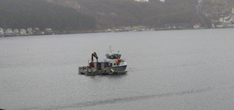 Undervassarbeid: «Alfa», båten til IMC, utanfor hamneområdet i Odda. Foto: Eivind Dahle Sjåstad