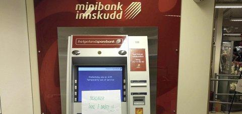 Tilbake i drift: Minibanken på Trofors er i drift igjen etter å ikke ha fungert i nesten to uker. leserfoto