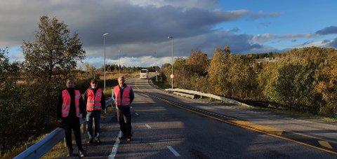 ER TATT OPP: Evenes kommunes trafikksikkerhetsutvalg ved Sisilja Viksund, Per Eilertsen og Roar Larsen ved befaring i fjor høst.