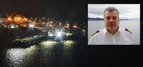 Her ser vi et eksempel på lysene som kaptein Roger Johansen (innfelt) ser på vei inn i havna.