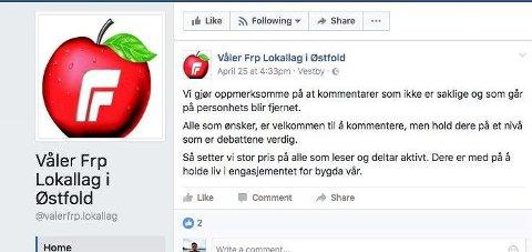 Påminnelse: Våler Frp oppfordrer til saklighet på Facebook.