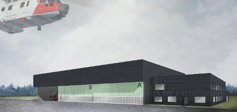 Ny hangar: Illustrasjon av den nye helikopterbasen på Sola. En tilsvarende base skal bygges på Rygge, uten kontordelen på siden.