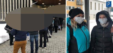 KØ: Mange har behov for å få hjelp av Nav om dagen. Gosia og Kamilla fra Polen er bare to av mange som sto i kø i Tromsø. Foto: Sissel Wessel-Hanssen