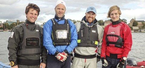 Til eliten: Lars Nilssen (f.v.), Hans G. Bjærke, Atle Dreng og Sverre D. Hop sørget for en plass i eliten neste år.Foto: Norges Seilforbund