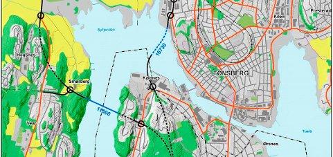 FINANSIERES MED BOMPENGER: Både senketunnelen i Byfjorden mellom Kaldnes og Korten, og hengebrua over Vestfjorden mellom Ramberg og Smørberg må finansieres med bompenger.