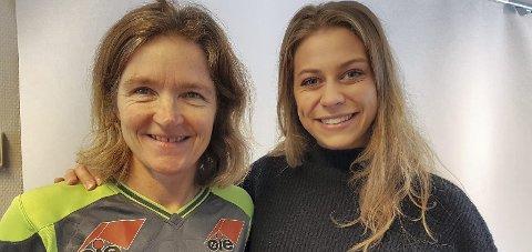 LEVERTE VARENE: Ingrid Kvernvoldens (t.h.) gode kamp og to scoringer gjør at hun også er høyaktull for startplass i mesterligaen torsdag. Trener Hege Riise synes det bare er bra med litt ekstra hodebry. FOTO: LSK KVINNER