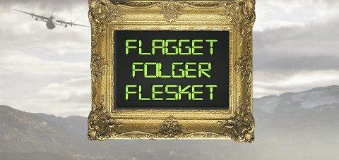 DEBATT: Utstillingen «Flagget følger flesket» danner bakteppet for to politiske debatter foran Stortinget onsdag. Foto: Akershus kunstsenter