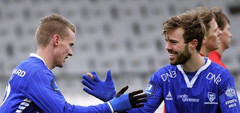 Treningskamp: Patrick Mortensen og Jon -Helge Tveita starter høsten med treningskamp mot Lillestrøm. Foto. Thomas Andersen