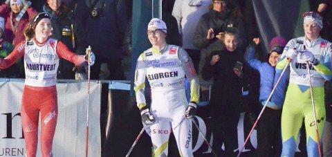Stjerner: Thea Maurtvedt fikk en opplevelse hun sent vil glemme under semifinalen. Ved siden sto nemlig Marit Bjørgen og Katja Visnar.