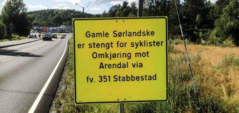 OMVEI: En omvei på 30 kilometer for syklister mot Arendal. FOTO: NILS JUL LANDE