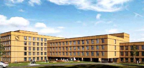 MASSIVTRE: Slik vil Nye gullbring studentheim se ut. Bygget blir i massivtre og skal huse nærmere 300 studenter.