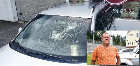 BETALER:  Vidar Skare betaler bota på 6000 kroner han fikk for å ha knust ruta på denne bilen i i frustrasjon over støyen enkelte av rånerbilene skapte.