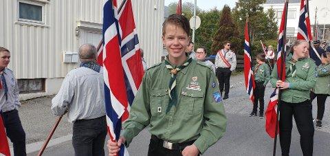 Håvard Brændeland i speidernes flaggborg i 2019