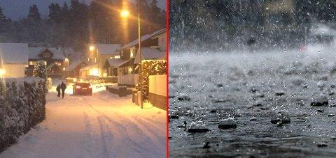 FRA SNØ TIL ØS PØS: Du må trolig bytte ut snøskuffa med paraply om kort tid.