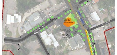 GATEBRUKSPLAN: Slik er planen for hvordan Teie sentrum skal se ut.