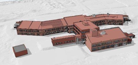 NY FASADE: Slik vil Raufoss videregående skole bli seende ut etter at oppgraderingene er ferdigstilte.