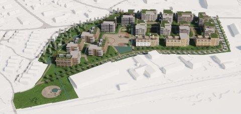 STORE PLANER: Langbakken Nord kan ble det første delområdet av sentrumsplanen som blir detaljregulert. Forslagstillerne ønsker blokkbebyggelse på opp til 5 etasjer, men rådmannen mener 4 etasjer får holde.