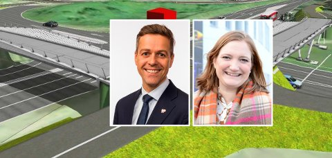 Samferdselsminister Knut Arild Hareide, Bodø-ordfører Ida Pinnerød og skisse fra forprosjekt for Grønnåsenkrysset - utarbeidet for Statens vegvesen.
