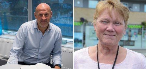 Roser smitteteamet: Rektor ved Randaberg VGS, Trond Hoel, og styrer i Sande barnehage, Camilla Jensen Stusvik, er fornøyde med jobben smitteteamet gjør.