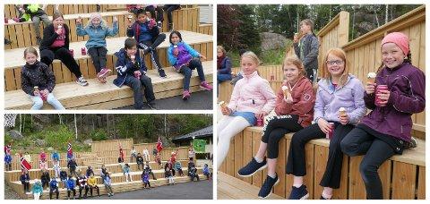 FORNØYD TREDJEKLASSE: Tredjeklassen på Grøne Bråden skole var veldig fornøyde med å vinne beste innslag på 17. mai. Jubelen var stor da de fikk is og brus i skoletiden.