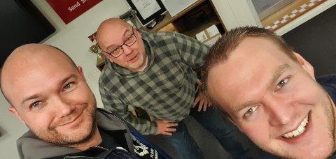 METTE: Torgeir Halvorsen, Arne Hjorth Johansen og Fredrik Helland, gode og mette på burgarar.