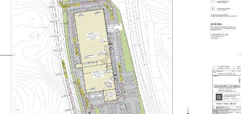 Under utbygging: Plantegningen til utbyggingen, viser to større og et mindre buikklokale.