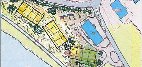 SKISSE: Slik tenker eierne av tomta der det tidligere asylmottaket på Langeland ligger at området kan benyttes dersom man velger å bygge flere leilighetsbygg der.
